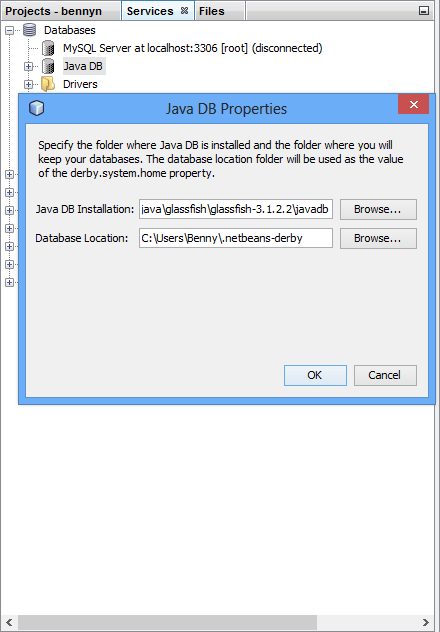 The Java DB location is not set correctly