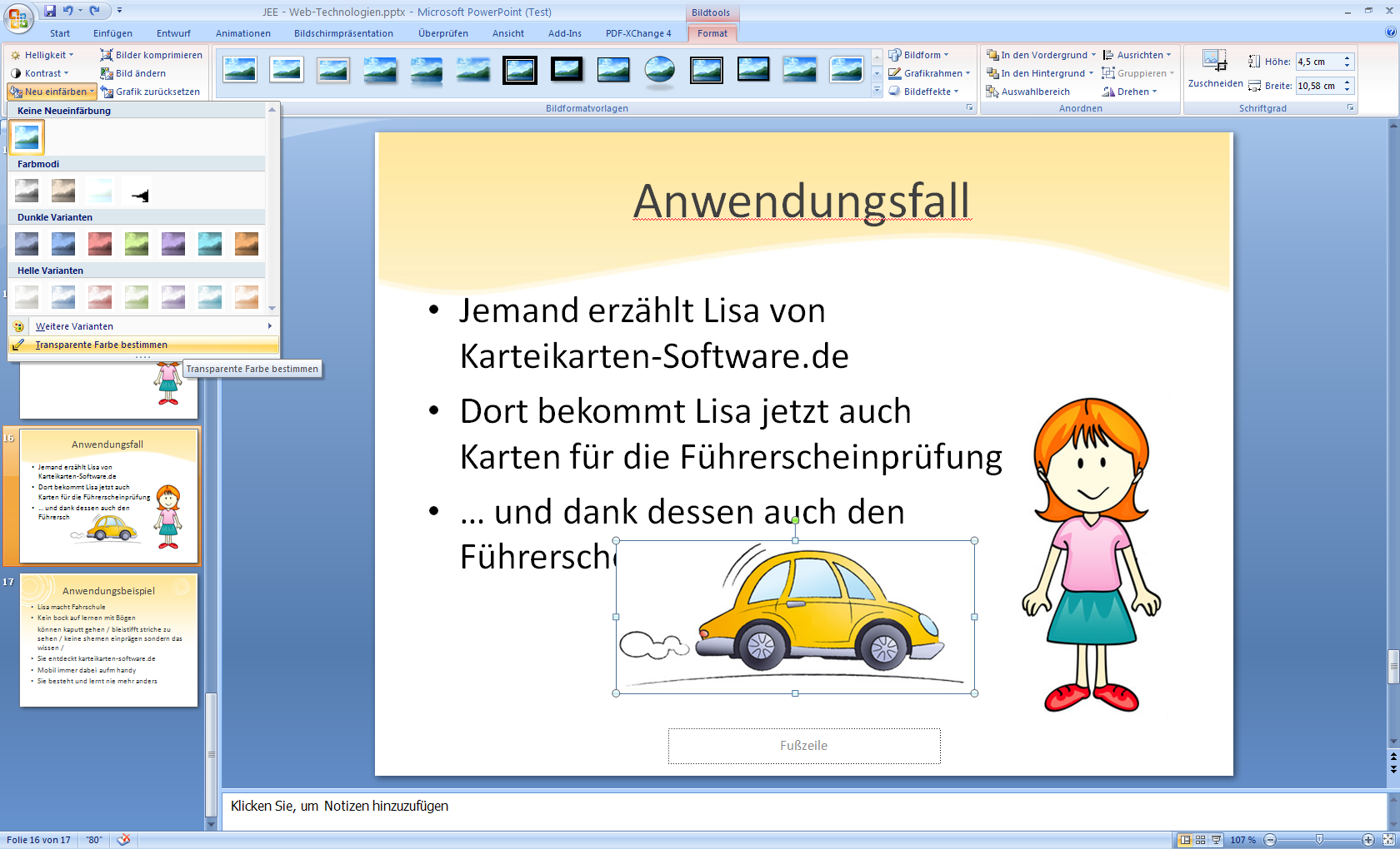 Powerpoint 2007 Transparente Farbe Bestimmen