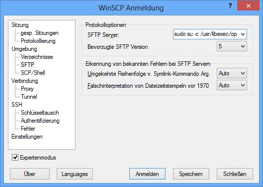 WinSCP: SFTP Server mit sudo-Befehl ausführen
